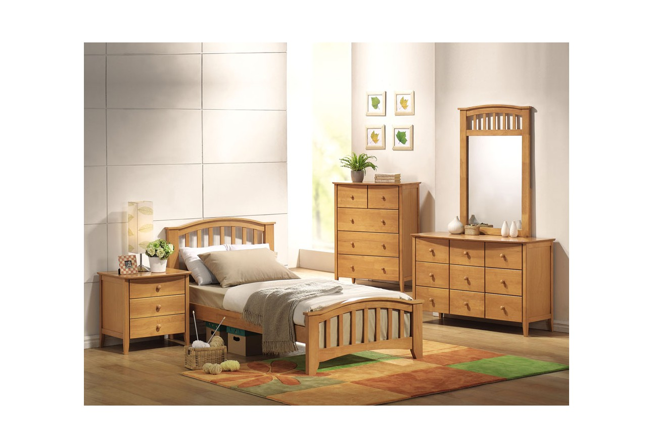 Acme San Marino Bed Twin Maple Finish