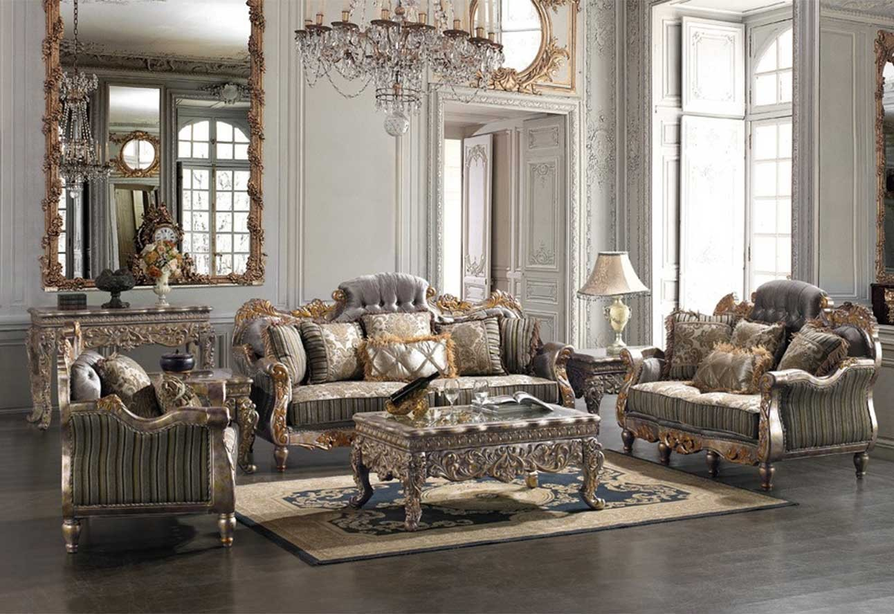 Hd 287 homey design upholstery living room set victorian european classic design sofa set