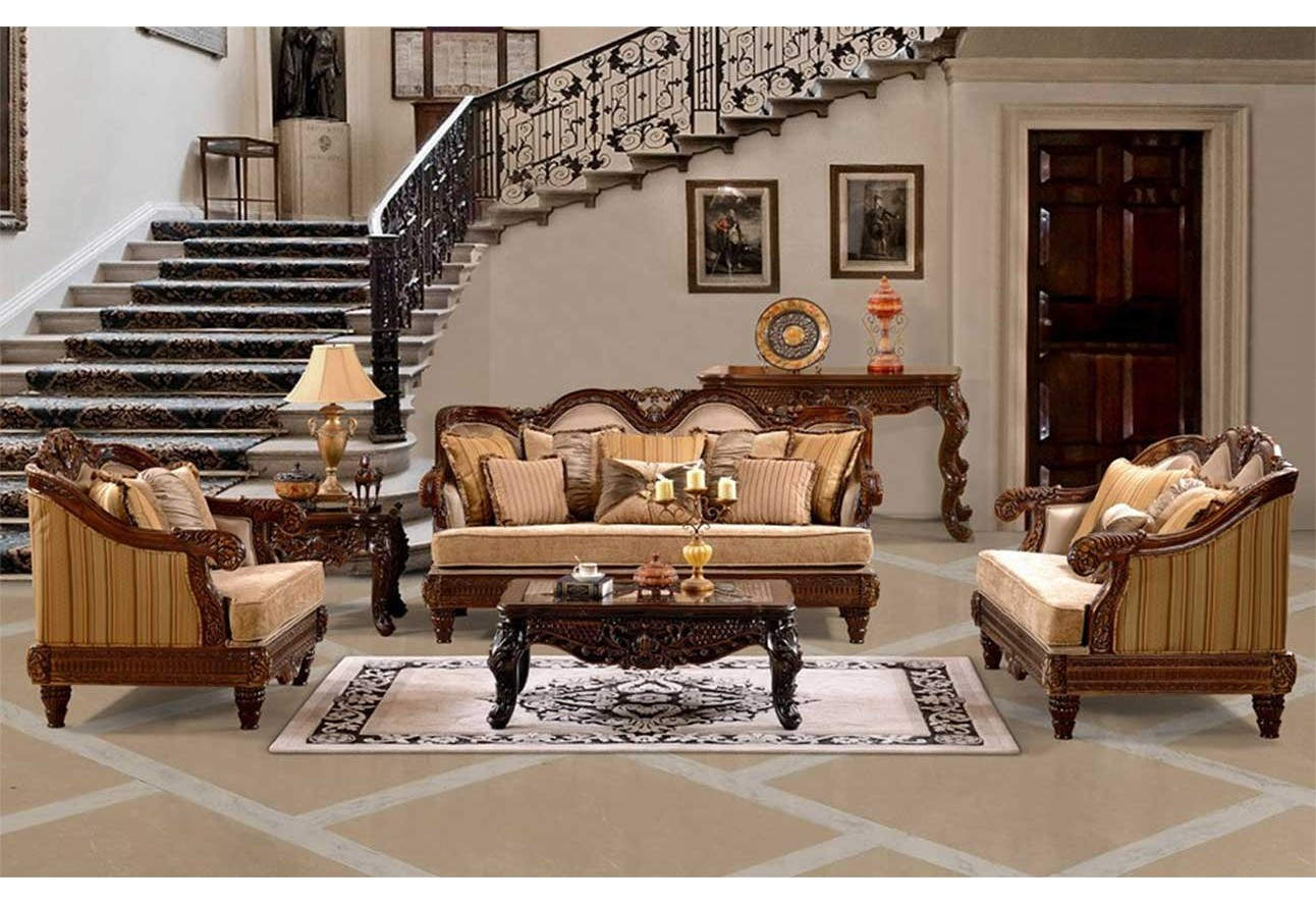 Hd 386 homey design upholstery living room set cherry victorian european classic design sofa