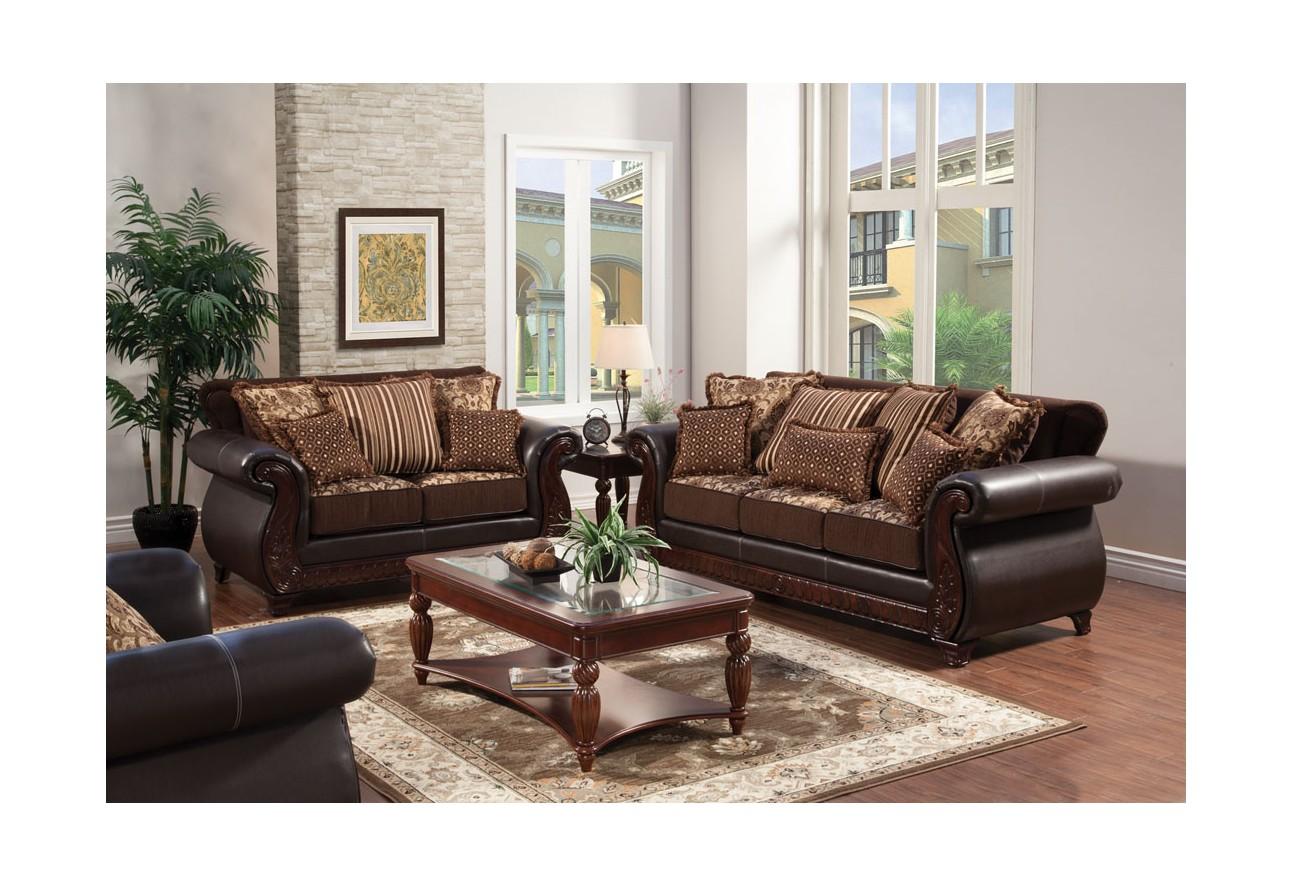 SM6106 Furniture Of America Franklin Living Room Dark Cherry Finish