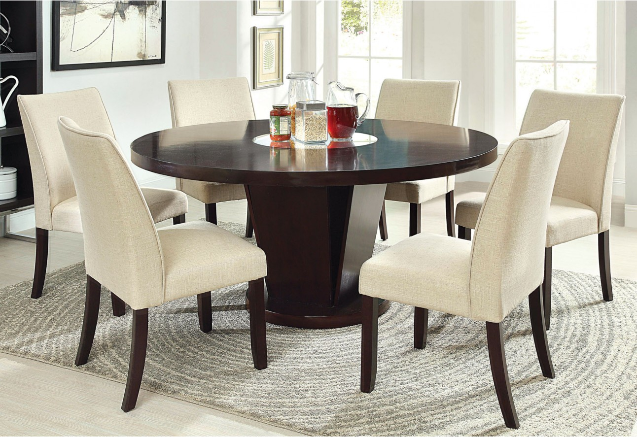 CM3556 Round Top Solid Wood With Mirror Dining Table Set Espresso ...