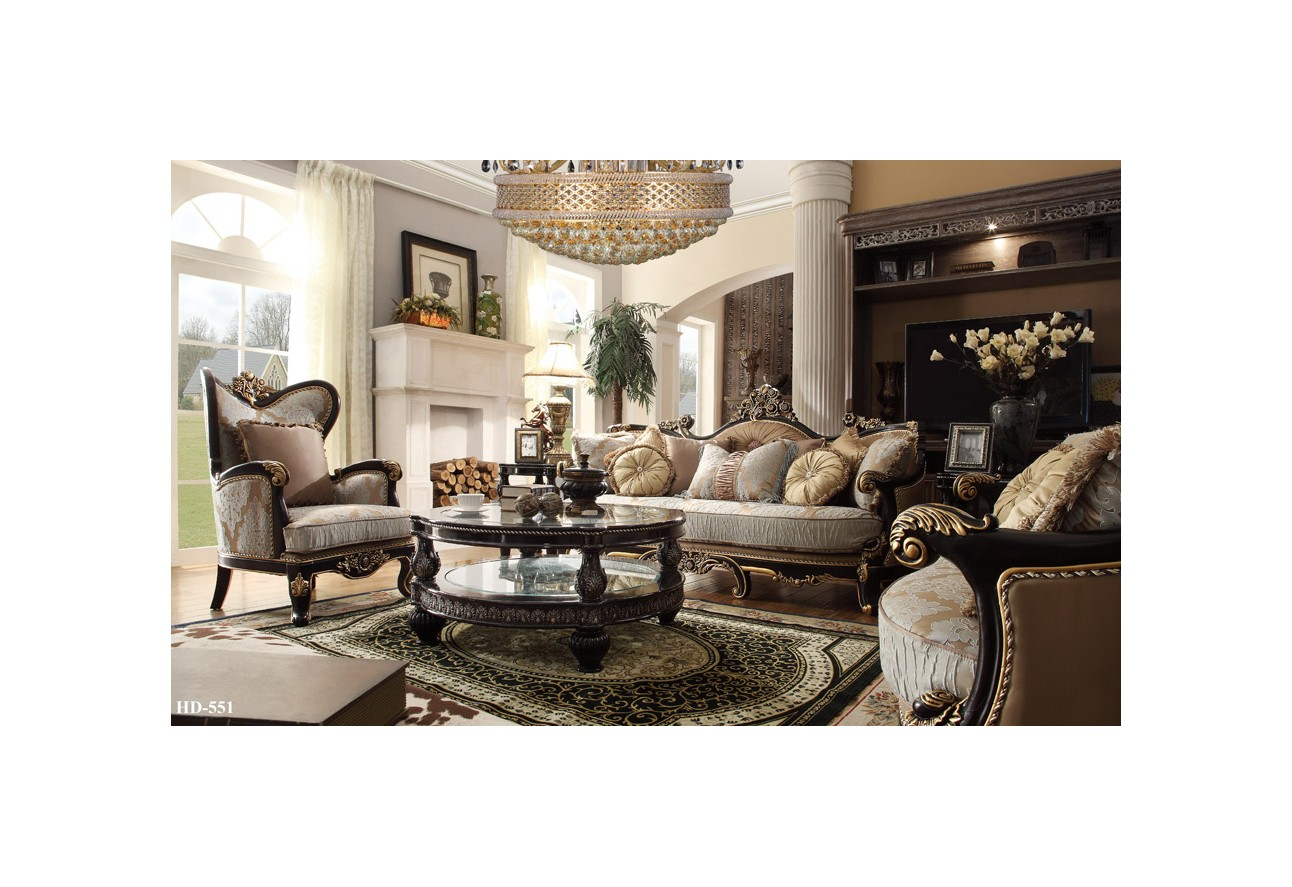 Hd 551 homey design upholstery living room set victorian european classic design sofa