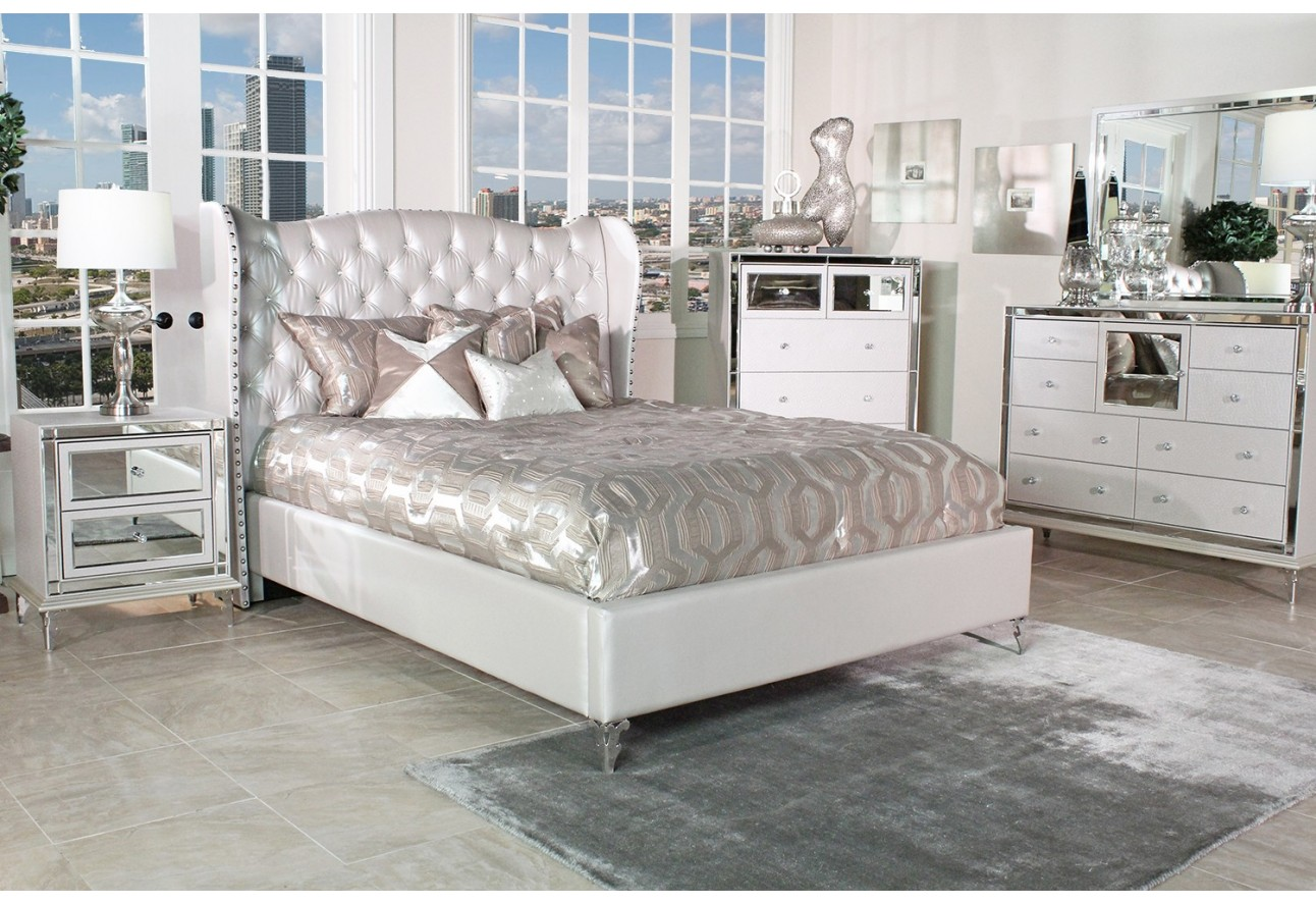 Hollywood Loft Bedroom Set Collection with Upholstered Platform Bed