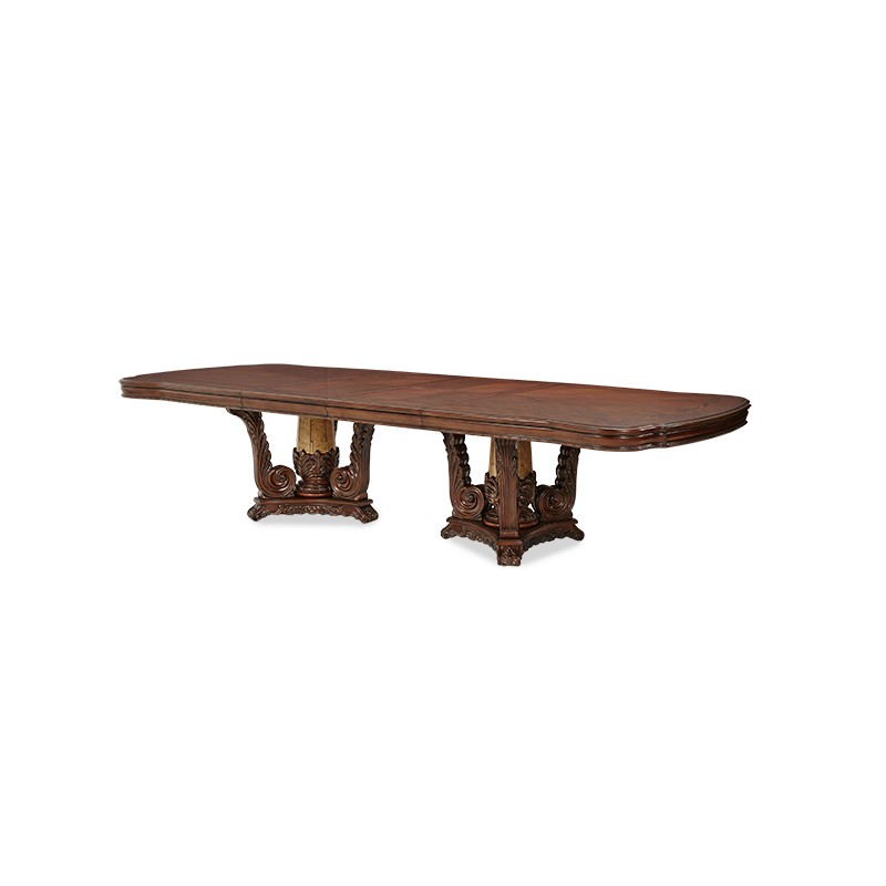 rectangular double pedestal dining room table 2 pc light espresso