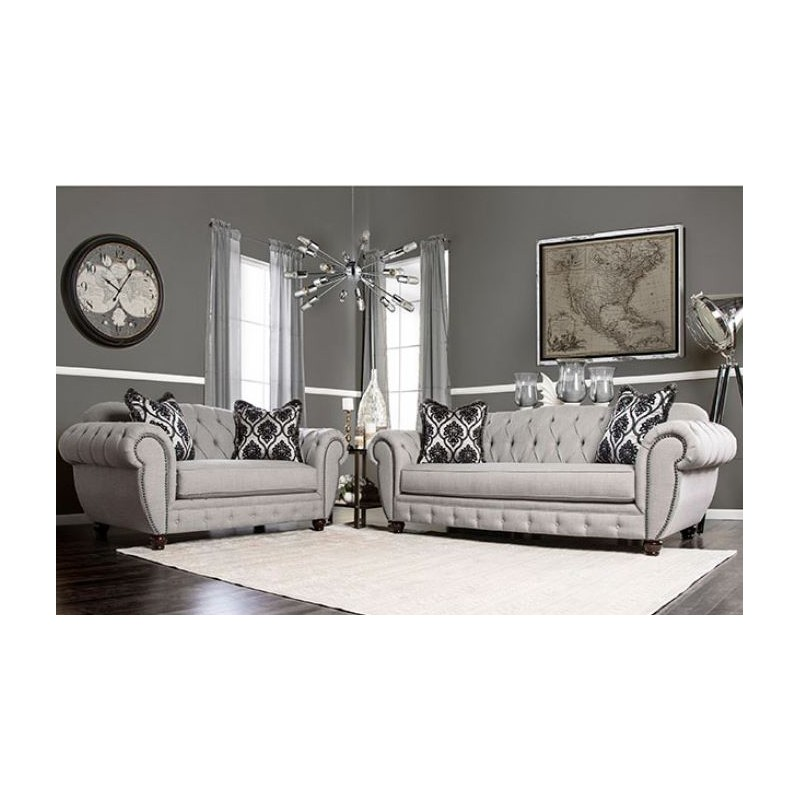 Sm2291 furniture of america living room modern victorian - Gray modern living room furniture ...