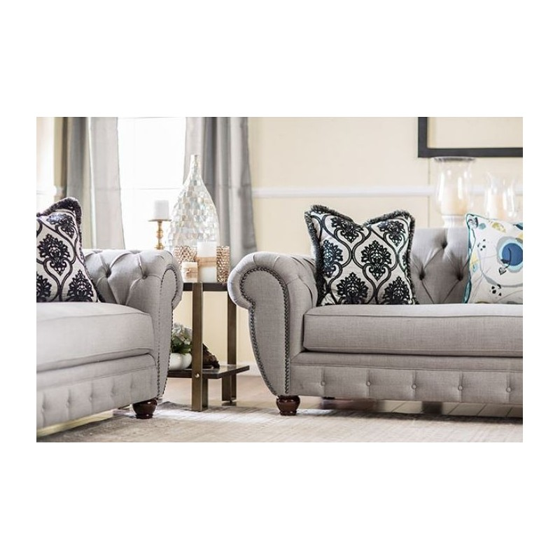 Furniture of America Living room Modern Victorian Style Gray Fabric