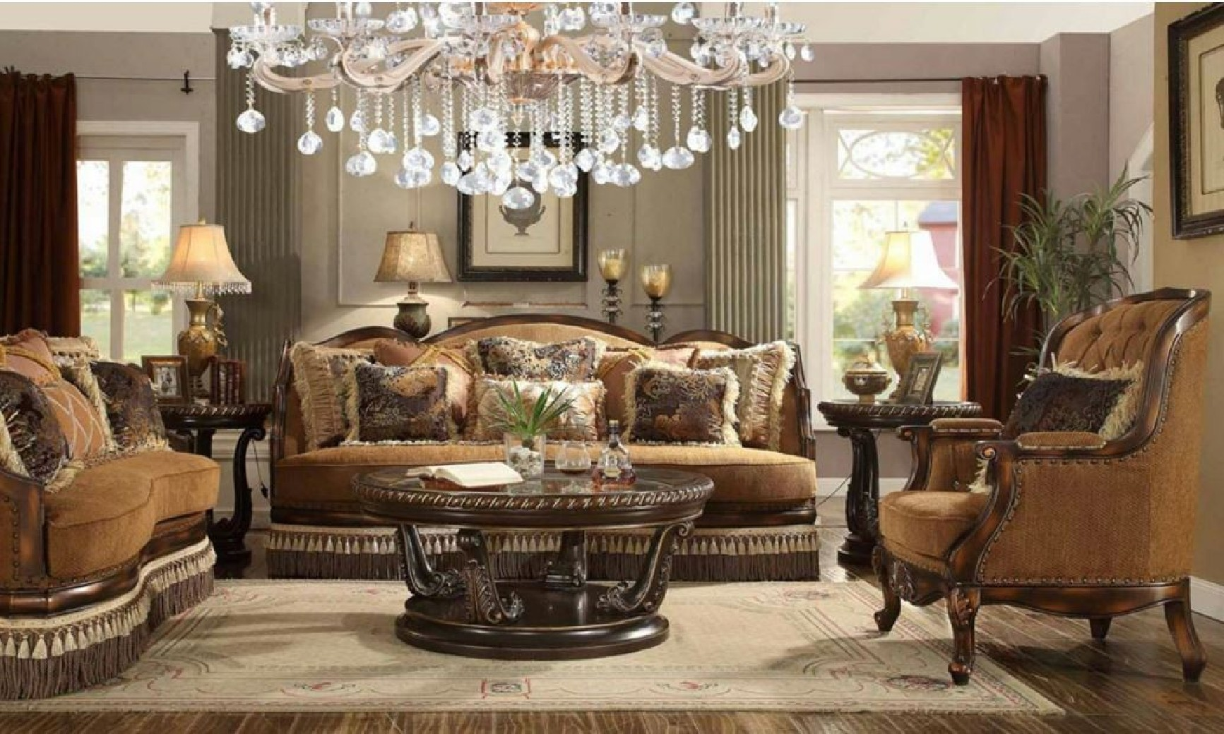 Hd 9344 Homey Design Upholstery Living Room Set Victorian