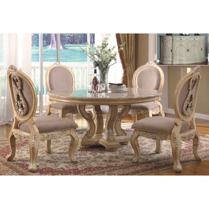 mcferran 5 piece marble top beige round dining set rd0018