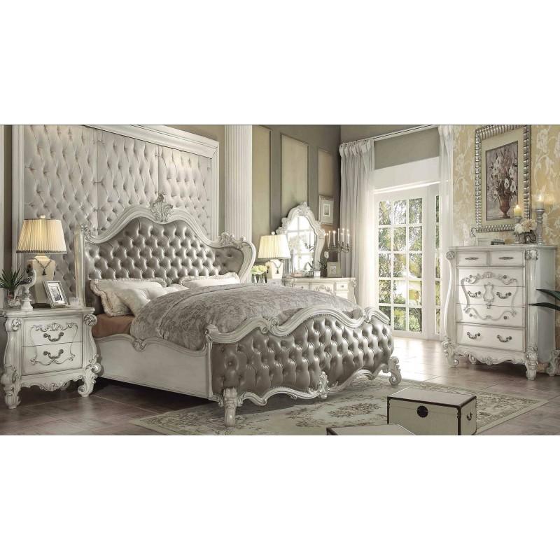 21150 Acme Versailles Bedroom Set Vintage Gray PU Bone white Finish. Acme Versailles Bedroom Set Vintage Gray PU Bone white Finish