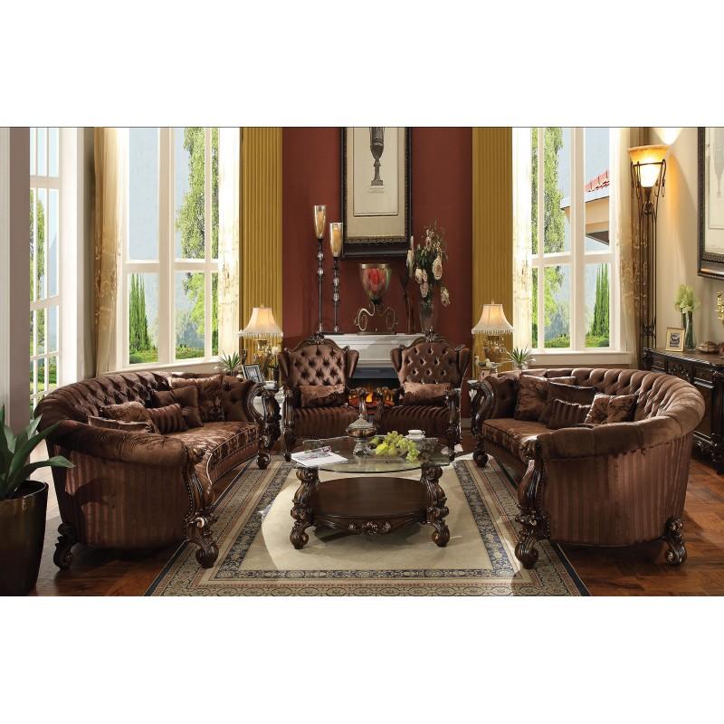 Acme Versailles Living room Collection Brown Velvet Cherry Oak Finish