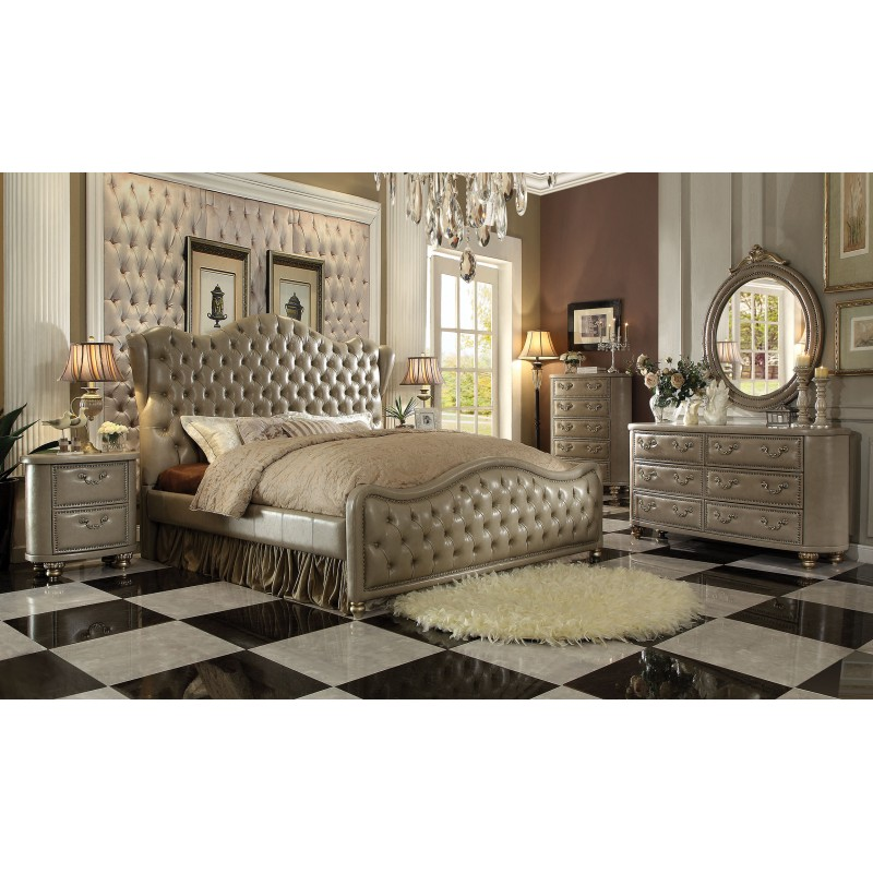 white and gold french provincial bedroom set acme collection vintage bone upholstery finish furniture
