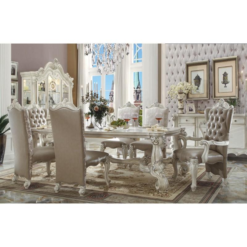 61145 Rectangular Dining Set Versailles Bone White Finish