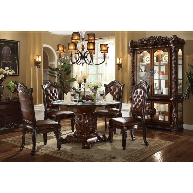 dining room acme 62010 round dining set vendome cherry finish