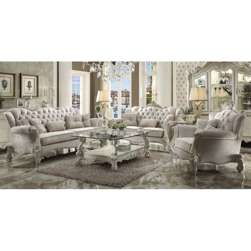 Ivory Living Room Furniture: Acme 52105 Versailles Living Room Collection Ivory Verlvet