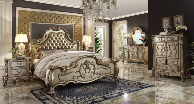 23160 Acme Dresden Bedroom Collection Gold Patina