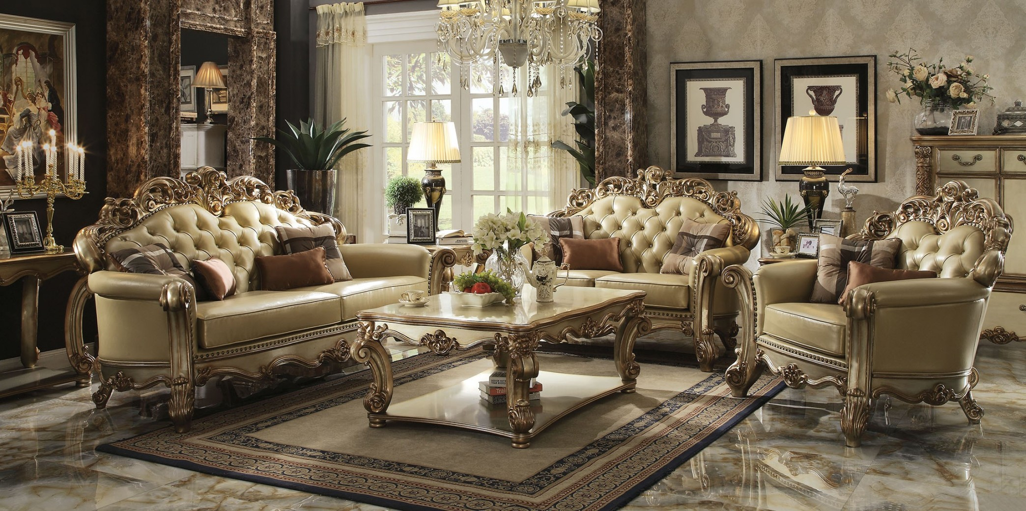 Acme Vendome Living room Collection Gold Patina Finish