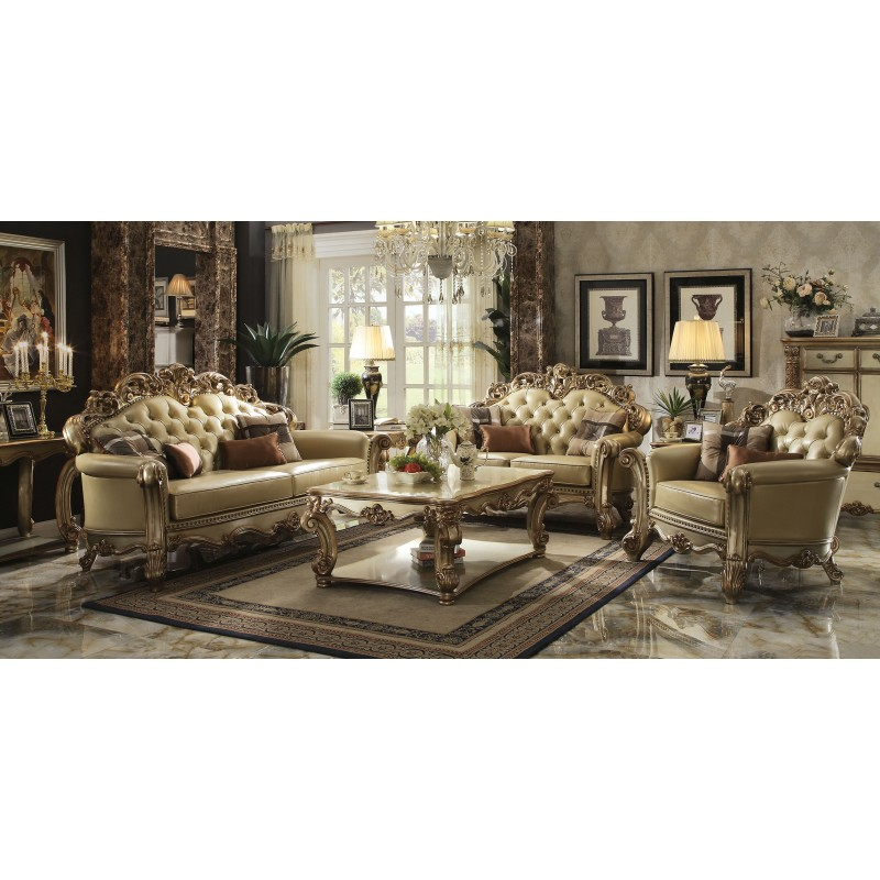53000 Acme Vendome Living room Collection Gold Patina Finish