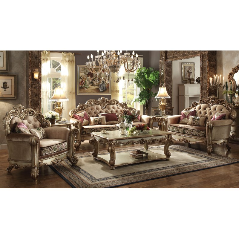 living room 53010 acme vendome living room collection gold patina