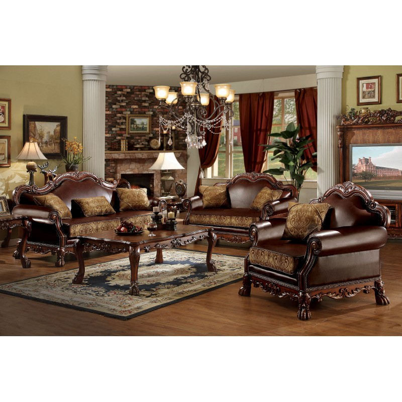 15160 Acme Dresden Living Room Collection Cherry Oak Finish Brown Pu
