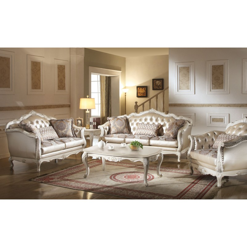 53540 Acme Chantelle Collection Living Room Set Pearl White Finish Rose Golden PU