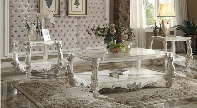 Acme 82123 Coffee Table Versailles Collection Bone White Finish