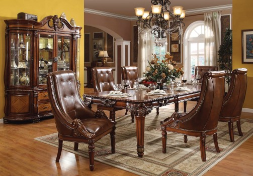 60075 Acme Dinning Set Winfred Cherry Finish