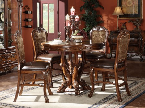 12160 Acme  Dresden Counter Height Dining Set  Cherry Oak Finish