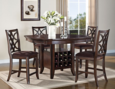 60350 Acme Keenan Counter Height Dining Set Walnut Finish