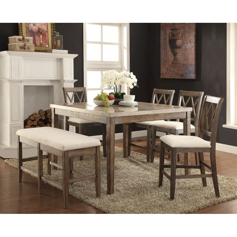Acme Claudia Counter Height Dining Set White Marble Top Finish