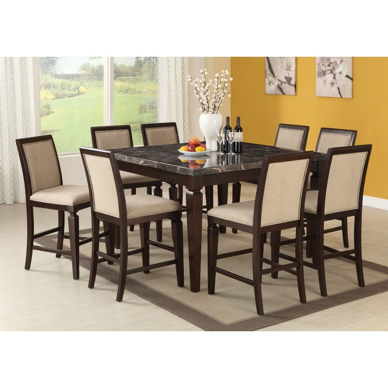 acme agatha counter height dining set black marble top espresso finish