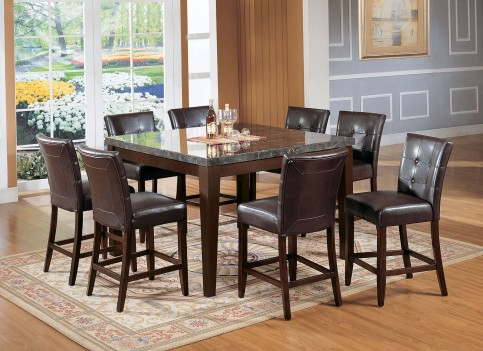 07059 Acme Danville Counter Height Dining Set Black Marble Top Walnut Finish