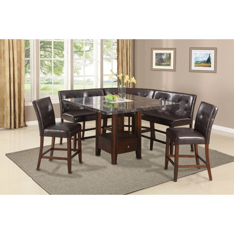 dining set love chair corner chair black marble top walnut finish