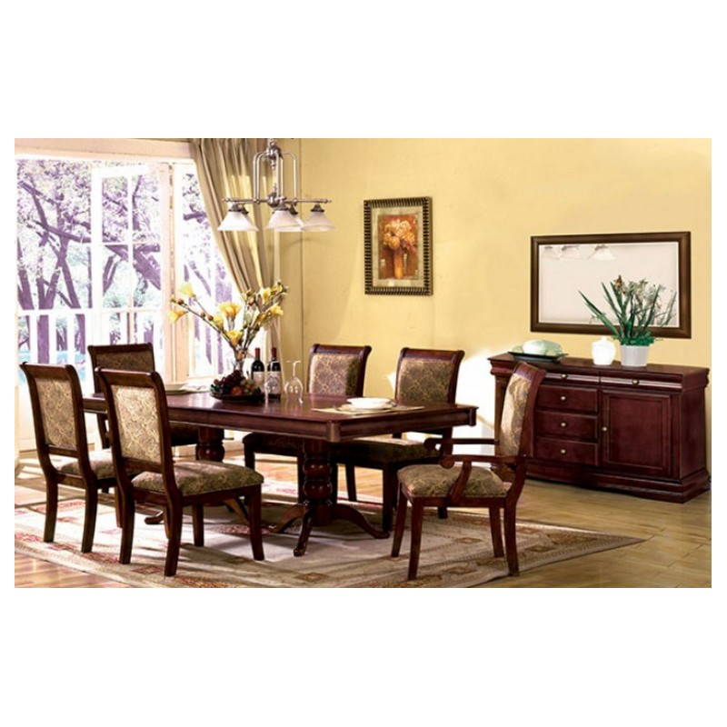 CM3224 Furniture Of America St Nicholas I Dining Set Antique Collection Cherry Finish