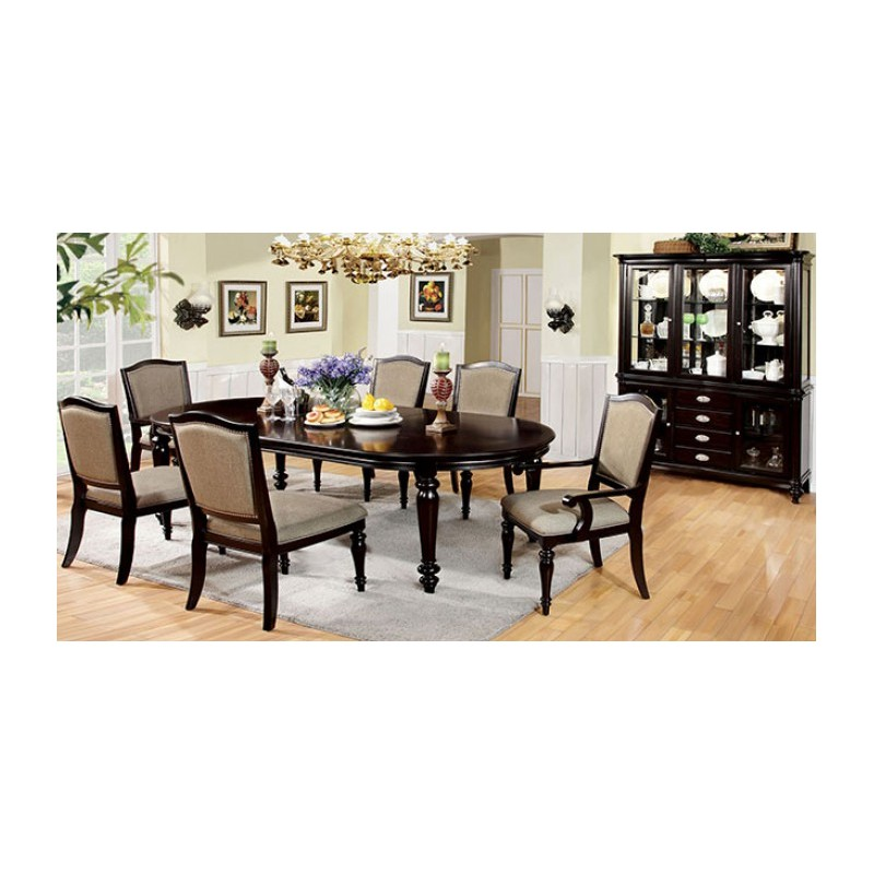CM3970 Furniture Of America Harrington Dining Set Collection Dark Walnut Finish