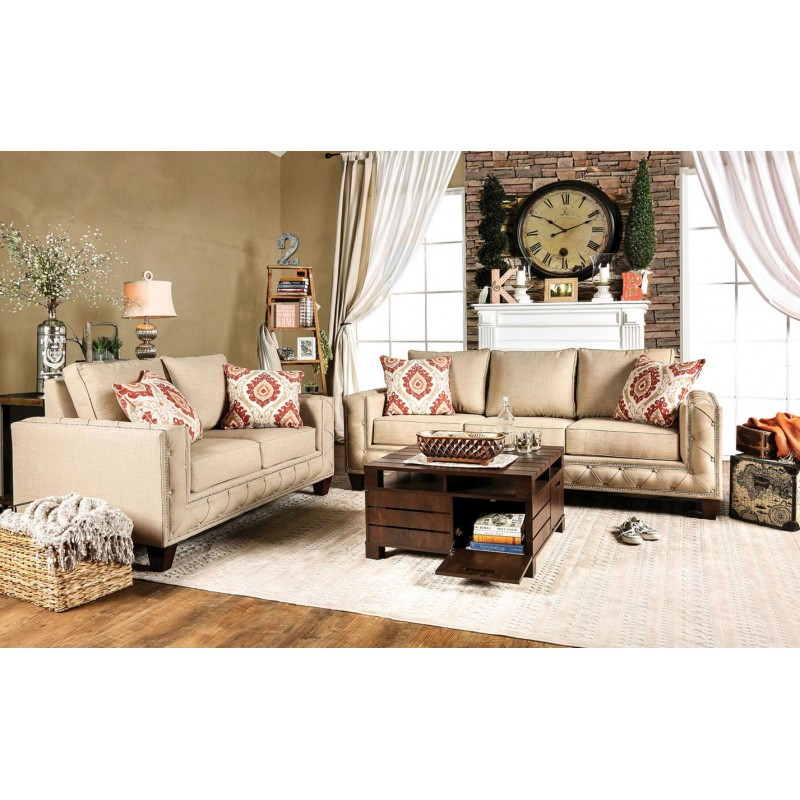 Marvelous SM6306 Furniture Of America Norwick Living Room Set Beige Fabric