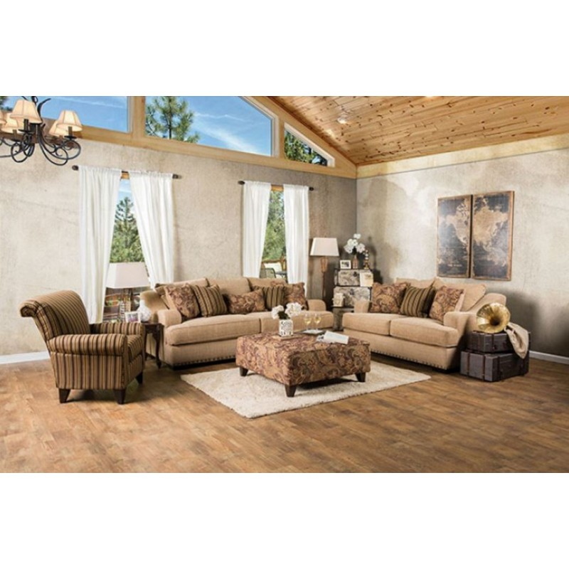 Sm1241 furniture of america arklow living room set tan fabric for Sm living room furnitures