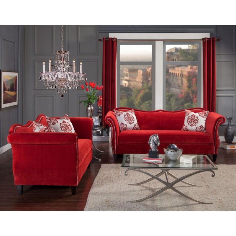 SM2232 Furniture Of America Zaffiro Living Room Set Ruby Red Fabric