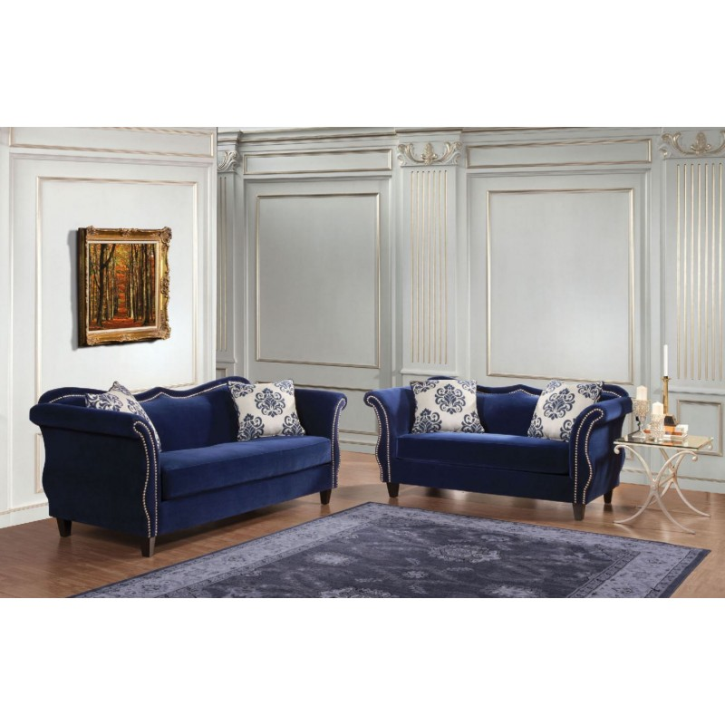 Royal Blue And Brown Living Room sm2231 furniture of america zaffiro living room royal blue fabric