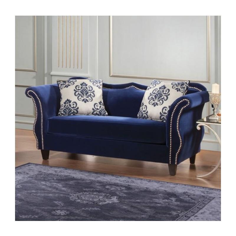 sm2231 furniture of america zaffiro living room royal blue fabric