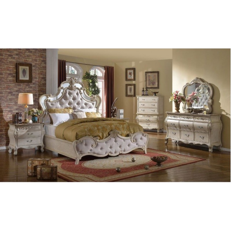 B8303 Sanctuary Bedroom Set With Mirrored Trim Headboard