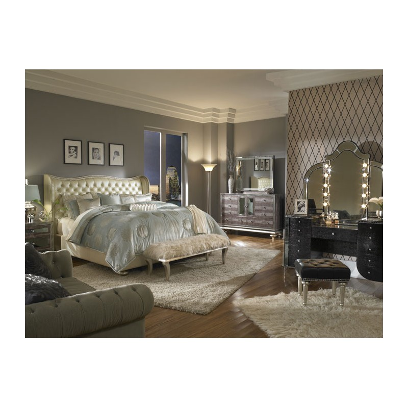 aico hollywood swank bedroom set collection by michael amini creamy