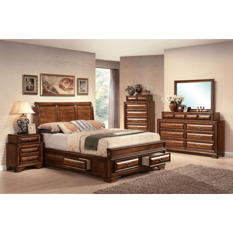 Acme Bedroom Set Konane Collection Brown Cherry Finish