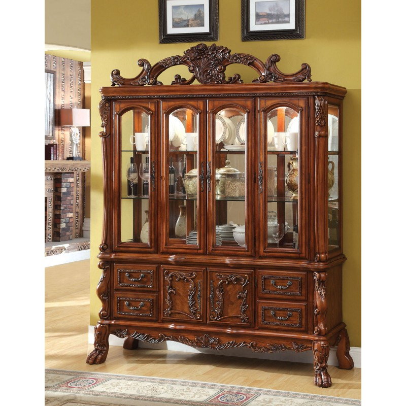 CM3557T Furniture Of America Formal Dining Set Antique Oak Finish