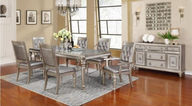 106471 Bling Game Metallic Platinum Dining Set. Leg Table