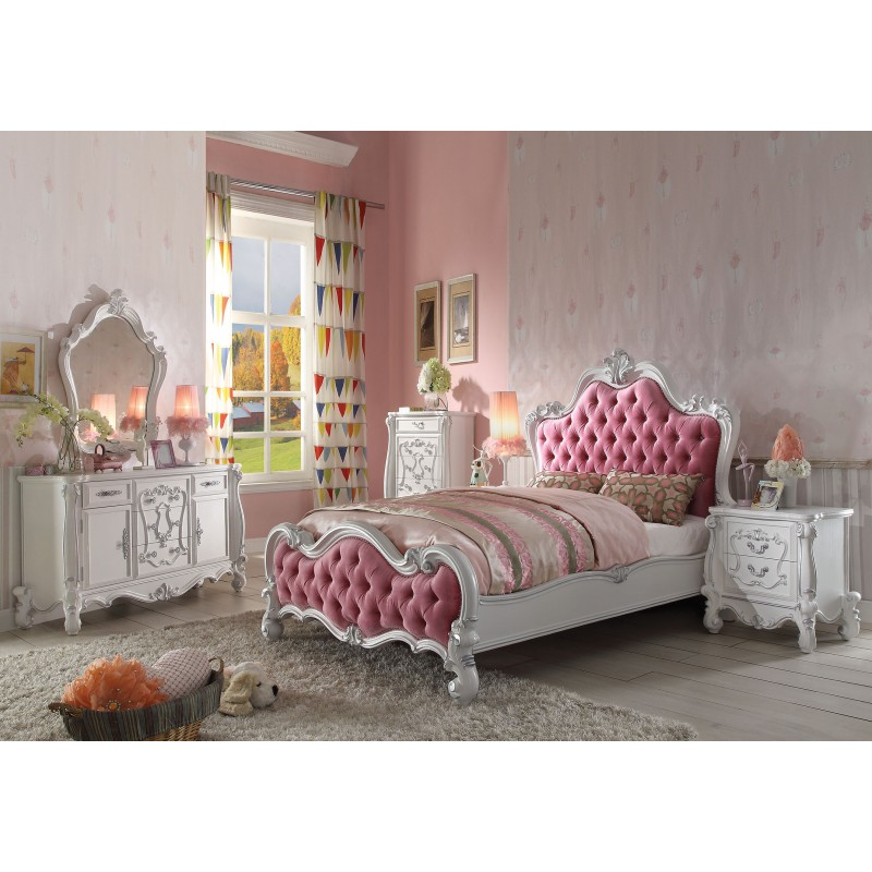 Versailles Antique White Finish Bedroom Set Victorian Style
