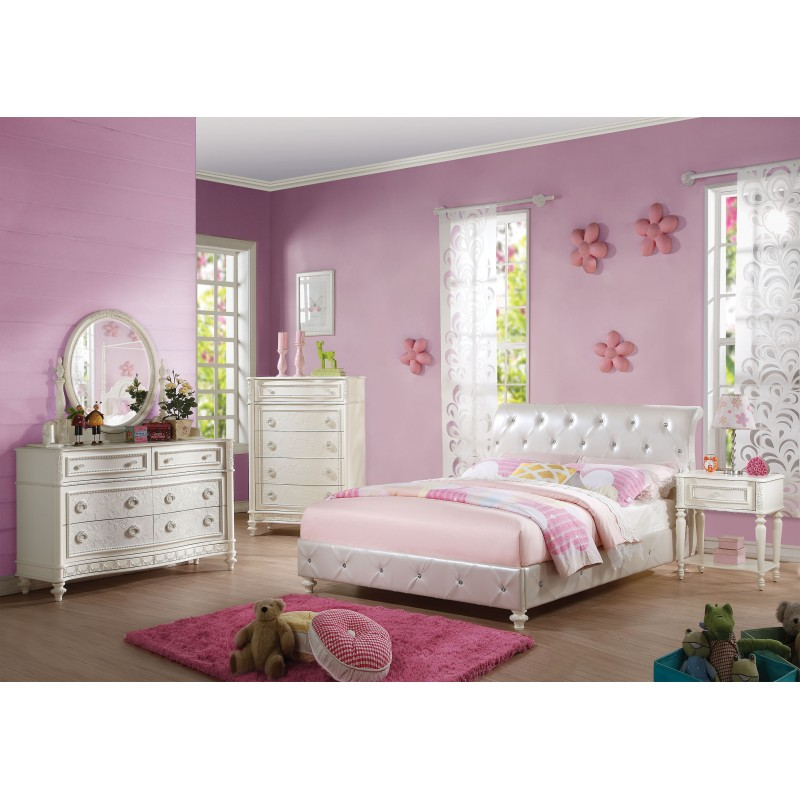acme collection bedroom set ivory finishpearl white