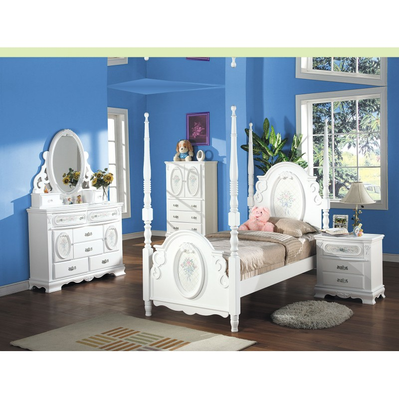 girls 01660 acme kids bedroom set post bed flora collection white