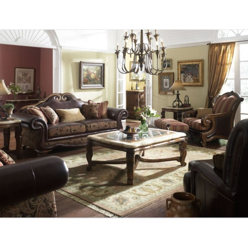 Tuscano Leather/Fabric Sofa Set by Michael Amini (2 PC)