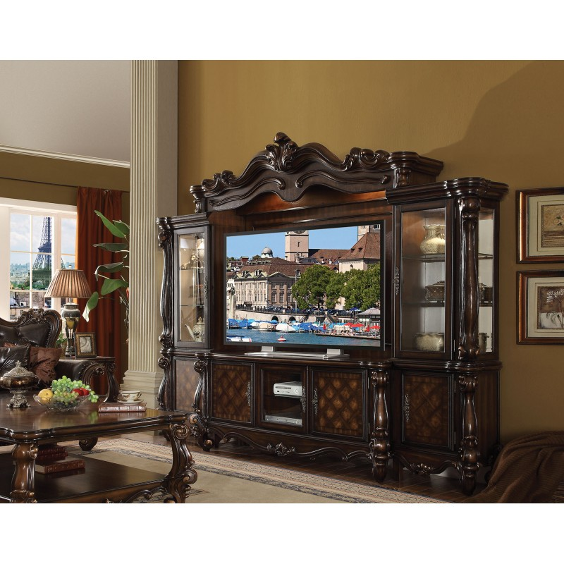 cherry oak finish stand entertainment center acme 3 piece solid light with fireplace wall units