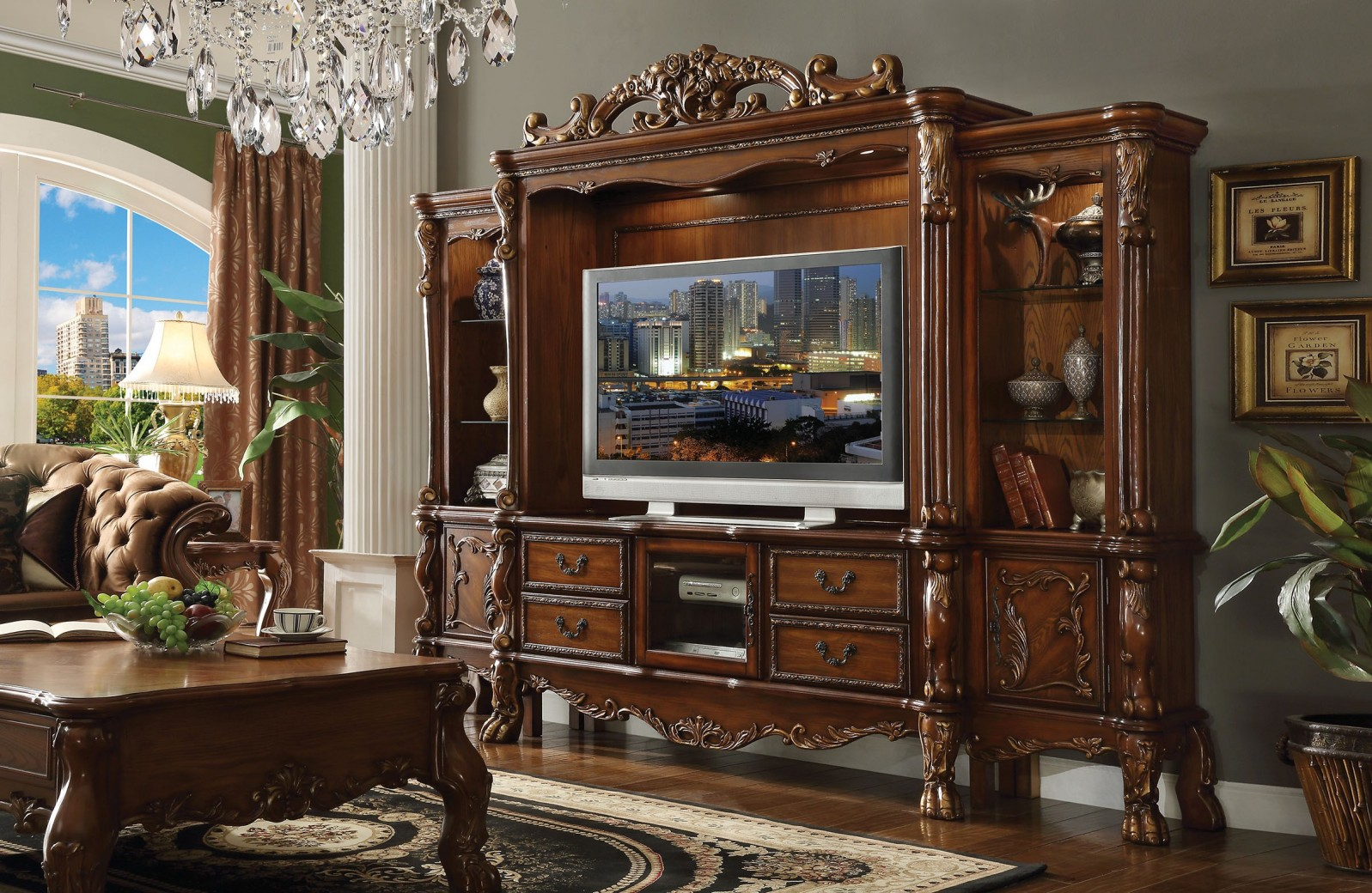 Dresden Cherry Oak Finish 4pcs Tv Stand Entertainment